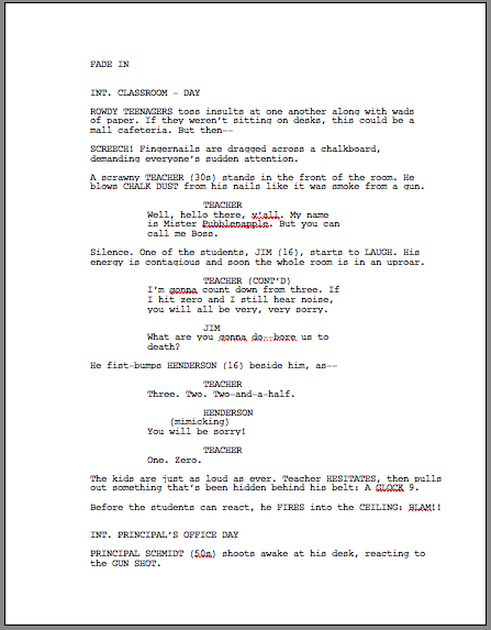 Screenplay script